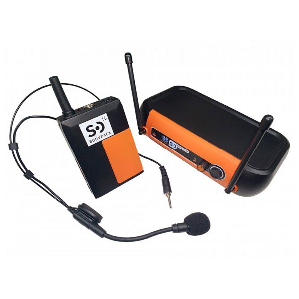 black_orange_SD16_UHF_headset_mic_system_bodypack